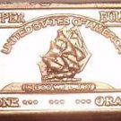 UNC .999 PURE COPPER 1 GRAM SHIP BAR~FREE SHIPPING~