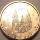 GEM UNC SPAIN 2011 ONE EURO CENT~CATHEDRAL OF SANTIAGO DE COMPOSTELA~FREE SHIP~