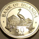 Rare Proof Uganda 1966 50 Cents~Only 8,250 Minted~East African Crowned Crane~F/S