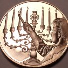 Massive Franklin Mint Bronze Proof Medallion~9 Candle Israel Manorh~Free Ship