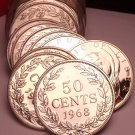 Rare Proof Roll (20 Coins) Large Liberia 1968 50 Cent Coins~14,396 Minted~FR/Shi