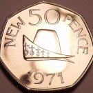 Huge Proof Guernsey 1971 50 Pence~Ducal Cap Of The Duke Of Normandy~Free Ship