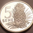 Rare Silver Proof Samoa 1974 5 Sene~Only 5,578 Minted~Pineapple~Free Shipping