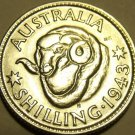 Scarce Unc Silver Australia 1943-S Shilling~Rams Head~George VI~Free Shipping~