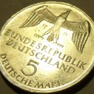 Large Unc Silver Germany 1971-G Five Mark~Foundation Of German Empire~Free Ship