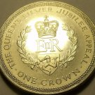 Massive Unc Isle Of Man 1977 Crown~The Queens Silver Jubilee~Free Shipping