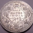 Au/Unc Silver India 1943-B Half Rupee~We Have Silver Coins~Free Shipping