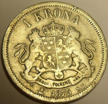 EXTREMELY RARE SILVER SWEDEN 1875-ST KRONA~FREE SHIP~