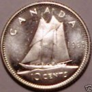 Unc Silver Canada 1965 10 Cents~Free Shipping