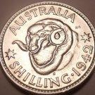 Scarce Unc Silver Australia 1942-S Shilling~Rams Head~George VI~Free Shipping~