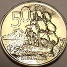 Proof New Zealand 1969 50 Cents~HMS Endeavour~50k Minted~Edge Incription~Free Sh
