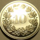 Rare Gem Cameo Proof Switzerland 1977 10 Rappen~7,030 Minted~Free Shipping~