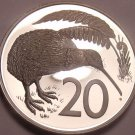 Cameo Proof New Zealand 1974 20 Cents~Kiwi Bird~Only 8,000 Minted~Free Shipping