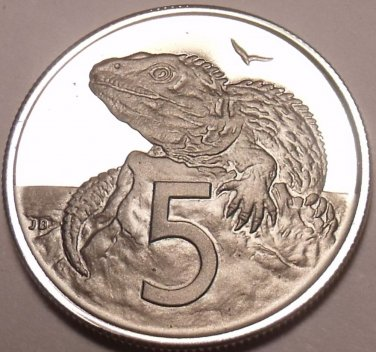 Cameo Proof New Zealand 1974 5 Cents~Tuatara~Only 8,000 Minted~Free Shipping