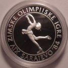 Large Silver Proof Yuoslavia 1983 100 Dinara~Olympic Figure Skating~Free Ship