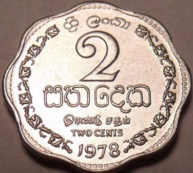 1978 GEM UNC SRI LANKA(CEYLON) 2 CENTS LAST YEAR FR/SHI