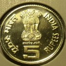 RARE PROOF INDIA 2011 FIVE RUPEES~RABINDRANATH TAGORE 150TH~FREE SHIPPING~