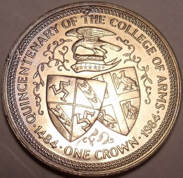 Massive Gem Unc Isle Of Man 1984 Crown~Quincentenary Of The College Of Arms~F/S