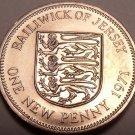 Brilliant Unc Bailiwick Of Jersey 1971 Penny~Solid Bronze~1st Year Ever~Free Shi