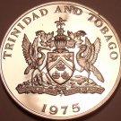 RARE PROOF TRINIDAD & TOBAGO 1975 10 CENTS~24K  MINTED~FLAMING HIBISCUS~FR/SHI