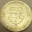 HUGE SILVER HUNGARY 1947-BP 5 FORINT~WOW~FREE SHIPPING~
