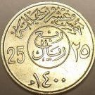 UNCIRCULATED 1979 SAUDI ARABIA 25 HALALA~WOW~FREE SHIP