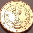 Gem Unc Austria 2002 1 Euro Cent~Gentian flower~Minted In Vienna~Free Shipping