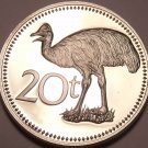 LARGE PROOF PAPUA NEW GUINEA 1975 20 TOEA~CASSOWARY~1ST YEAR EVER~FREE SHIPPING~