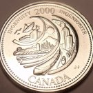 Gem Unc Canada 2000 Quarter Minted to commemorate the Millenium~Ingenuity~Fr/Shi