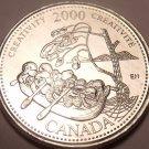 Gem Unc Canada 2000 Quarter Minted to commemorate the Millenium~Creativity~Fr/Sh