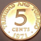 PROOF TRINIDAD & TOBAGO 1971 5 CENTS~12K MINTED~FREE SHIPPING