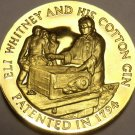 PROOF LONGINES WITTNAUER 24K ELI WHITNEY AND HIS COTTON GIN MEDALLION~FREE SHIP~