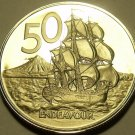 Rare Camep Proof New Zealand 1974 50 Cents~Only 8,000 Minted~HMS Endeavour~Fr/Sh