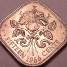 Unc Bahamas 1966 15 Cents~Hibiscus~1st Year For Bahama Coinage~Free Shipping*