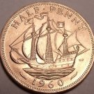 Uncirculated Great Britain 1960 Half Penny~Free Shipping