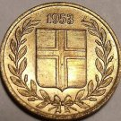 Rare Unc Iceland 1953 Aurar~We have Iceland Coins~Free Shipping