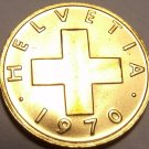 UNCIRCULATED 1970 SWITZERLAND 1 RAPPEN NICE CROSS