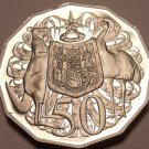 HUGE CAMEO PROOF AUSTRALIA 1983 50 CENTS~FREE SHIPPING~KANGAROO AND EMU~FREE SHI
