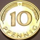 Gem Cameo Proof Germany 1982-D 10 Pfennig~Minted In Munich~78,000 Minted~Free Sh