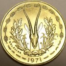 Choice Gem Unc West African States 1971 10 Francs~Gazelle~Free Shipping