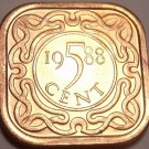 Gem Unc Suriname 1988-B 5 Cents~Square Coin~Awesome~Free Shipping