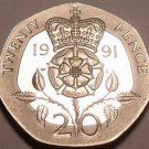 Rare Proof Great Britain 1991 20 Pence~Only 10,000 Minted~Excellent~Free Ship