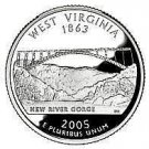 2005-D WEST VIRGINA BRILLIANT UNC STATE QUARTER~FREE SHIPPING INCLUDED~VERY NICE