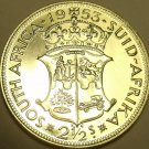 Huge Rare Silver Proof South Africa 1953 2 1/2 Shillings~Low Mintage Of 6,000~FS