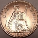 Huge Uncirculated Great Britain 1964 Penny~Excellent~Free Shipping