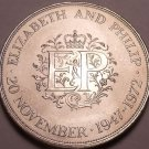 Gem Unc Great Britain 1972 25 Pence~Silver Wedding Anniversary~Free Shipping