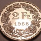 Large Rare Proof Switzerland Proof 1988-B 2 Francs~Only 9,000 Minted~Nice~Fr/Shi