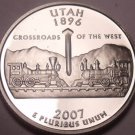 Gem Cameo Proof 2007-S Utah State Quarter~We Have Every State Quarter Minted~F/S