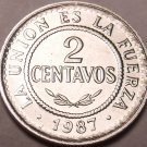 Gem Unc Bolivia 1987 2 Centavos~Stainless Steel Coin~Only Year Minted~Free Ship