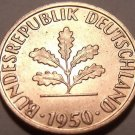 UNC GERMANY 1950-J 1 PFENNIG~VERY OLD COIN~~FREE SHIP~~